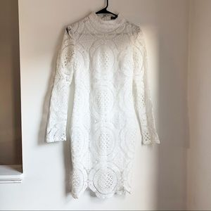 White long sleeve lace dress LuLus